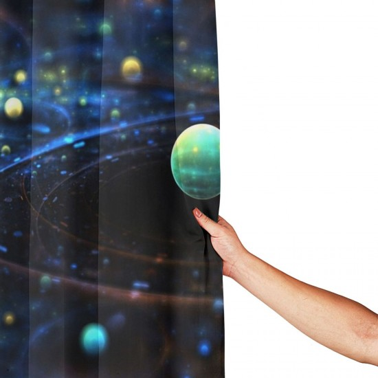 Planetary Galactic Orbits Shower Curtain , Shower Bathroom Curtain 55x72 Inch Waterproof Fabric with Hooks , Wildly used in bathroom and hotel etc.