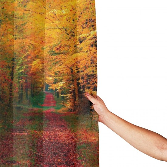 Path Through The Autumn Woods Shower Curtain , Shower Bathroom Curtain 55x72 Inch Waterproof Fabric with Hooks , Wildly used in bathroom and hotel etc.