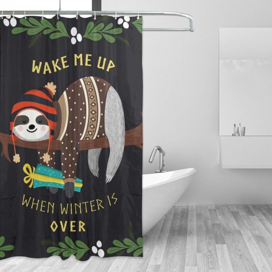 Cute Baby Sloth Sleeping On The Tree Shower Curtain , Shower Bathroom Curtain 55x72 Inch Waterproof Fabric with Hooks , Wildly used in bathroom and hotel etc.