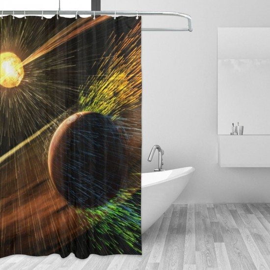 A Comet Strikes The Moon Shower Curtain , Shower Bathroom Curtain 55x72 Inch Waterproof Fabric with Hooks , Wildly used in bathroom and hotel etc.