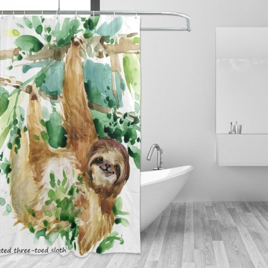 Watercolor Sloth Shower Curtain , Shower Bathroom Curtain 55x72 Inch Waterproof Fabric with Hooks , Wildly used in bathroom and hotel etc.