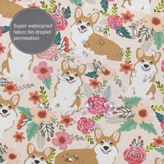 Corgi Florals Pet Dog Welsh Corgi Pembroke Shower Curtain , Shower Bathroom Curtain 55x72 Inch Waterproof Fabric with Hooks , Wildly used in bathroom and hotel etc.