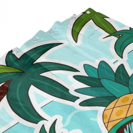 Cool Summer Pineapple Shower Curtain , Shower Bathroom Curtain 55x72 Inch Waterproof Fabric with Hooks , Wildly used in bathroom and hotel etc.