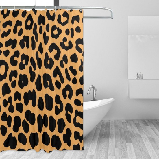 Cool Animal Leopard Print Shower Curtain , Shower Bathroom Curtain 55x72 Inch Waterproof Fabric with Hooks , Wildly used in bathroom and hotel etc.