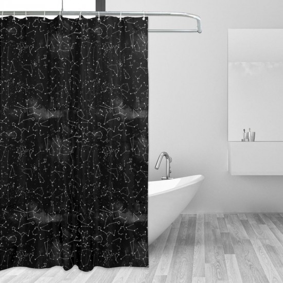 Constellations Black Watercolour Shower Curtain , Shower Bathroom Curtain 55x72 Inch Waterproof Fabric with Hooks , Wildly used in bathroom and hotel etc.