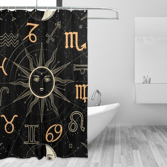Constellation (2) Shower Curtain , Shower Bathroom Curtain 55x72 Inch Waterproof Fabric with Hooks , Wildly used in bathroom and hotel etc.