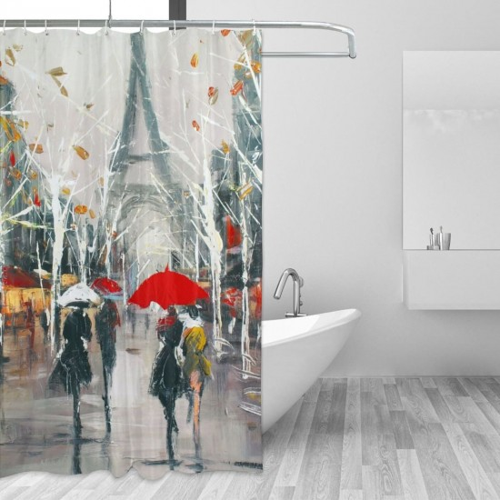 Colourful Tiles Art Paris Shower Curtain , Shower Bathroom Curtain 55x72 Inch Waterproof Fabric with Hooks , Wildly used in bathroom and hotel etc.