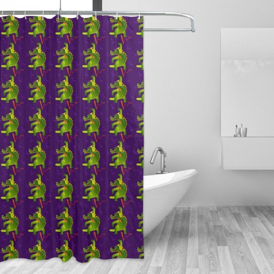 Colourful Crocodile Pattern Shower Curtain , Shower Bathroom Curtain 55x72 Inch Waterproof Fabric with Hooks , Wildly used in bathroom and hotel etc.
