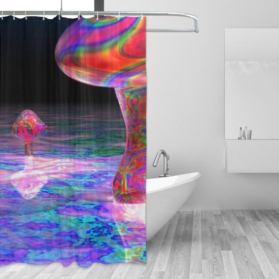 Colorful Trippy Mushroom Psychedelic Art Shower Curtain , Shower Bathroom Curtain 55x72 Inch Waterproof Fabric with Hooks , Wildly used in bathroom and hotel etc.