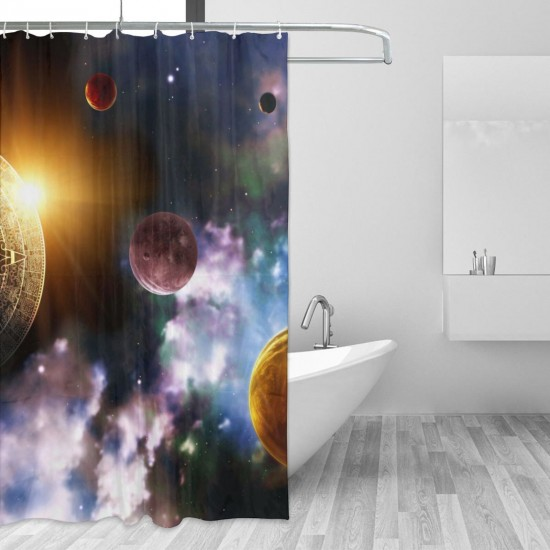 Colorful Starry Sky Shower Curtain , Shower Bathroom Curtain 55x72 Inch Waterproof Fabric with Hooks , Wildly used in bathroom and hotel etc.