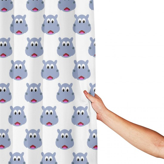 Cute Hippo Face02 Shower Curtain , Shower Bathroom Curtain 55x72 Inch Waterproof Fabric with Hooks , Wildly used in bathroom and hotel etc.