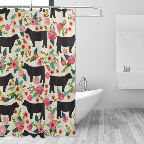 Cows Farm Barn Florals Design Shower Curtain , Shower Bathroom Curtain 55x72 Inch Waterproof Fabric with Hooks , Wildly used in bathroom and hotel etc.