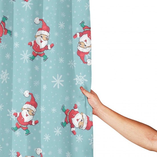 Christmas Santa Claus (2) Shower Curtain , Shower Bathroom Curtain 55x72 Inch Waterproof Fabric with Hooks , Wildly used in bathroom and hotel etc.