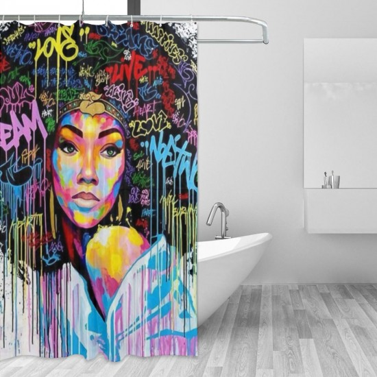 African American Black Girl Shower Curtain , Shower Bathroom Curtain 55x72 Inch Waterproof Fabric with Hooks , Wildly used in bathroom and hotel etc.