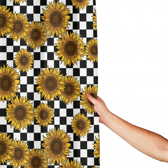 90s Sunflowers Checkerboard Shower Curtain , Shower Bathroom Curtain 55x72 Inch Waterproof Fabric with Hooks , Wildly used in bathroom and hotel etc.