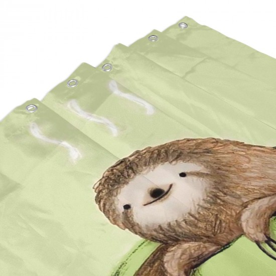 A Damned Adorable Sloth And Coffee Shower Curtain , Shower Bathroom Curtain 55x72 Inch Waterproof Fabric with Hooks , Wildly used in bathroom and hotel etc.