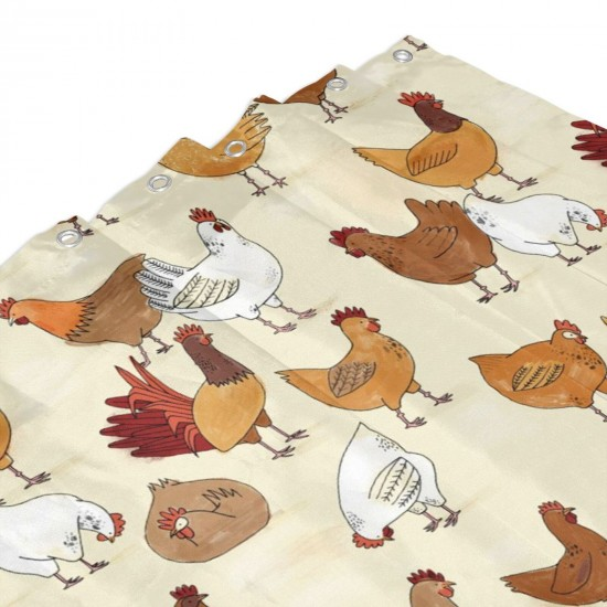 A Brood Of Chickens Shower Curtain , Shower Bathroom Curtain 55x72 Inch Waterproof Fabric with Hooks , Wildly used in bathroom and hotel etc.