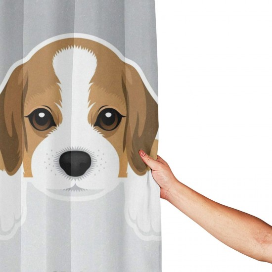 Cute Dog Beagle Shower Curtain , Shower Bathroom Curtain 55x72 Inch Waterproof Fabric with Hooks , Wildly used in bathroom and hotel etc.