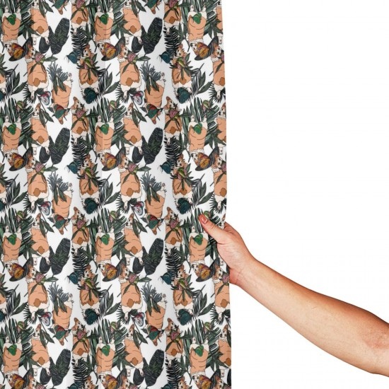 Cute Corgi Tropical Leaves Shower Curtain , Shower Bathroom Curtain 55x72 Inch Waterproof Fabric with Hooks , Wildly used in bathroom and hotel etc.