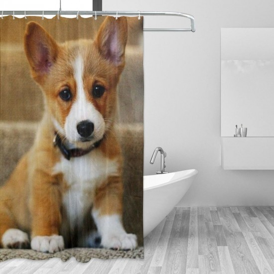 Cute Corgi Shower Curtain , Shower Bathroom Curtain 55x72 Inch Waterproof Fabric with Hooks , Wildly used in bathroom and hotel etc.