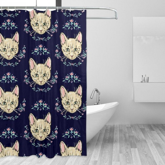 Cute Cats Kittens Shower Curtain , Shower Bathroom Curtain 55x72 Inch Waterproof Fabric with Hooks , Wildly used in bathroom and hotel etc.