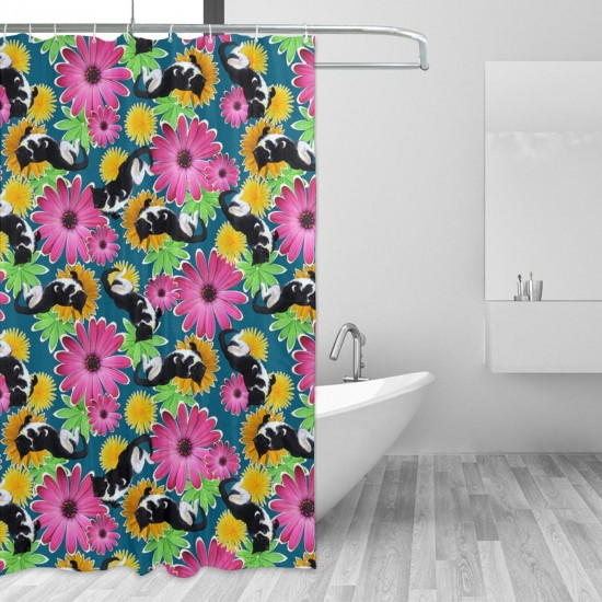 Cute Cat Daisies Shower Curtain , Shower Bathroom Curtain 55x72 Inch Waterproof Fabric with Hooks , Wildly used in bathroom and hotel etc.