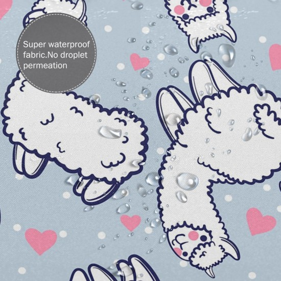 Cute Alpacas And Hearts Shower Curtain , Shower Bathroom Curtain 55x72 Inch Waterproof Fabric with Hooks , Wildly used in bathroom and hotel etc.