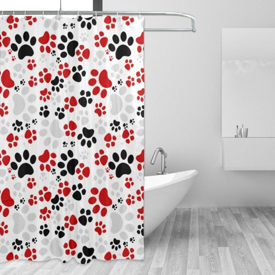 Crazy Colorful Dog Paws Shower Curtain , Shower Bathroom Curtain 55x72 Inch Waterproof Fabric with Hooks , Wildly used in bathroom and hotel etc.
