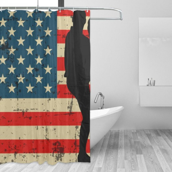 Stars And Stripes Baseball Shower Curtain , Shower Bathroom Curtain 55x72 Inch Waterproof Fabric with Hooks , Wildly used in bathroom and hotel etc.