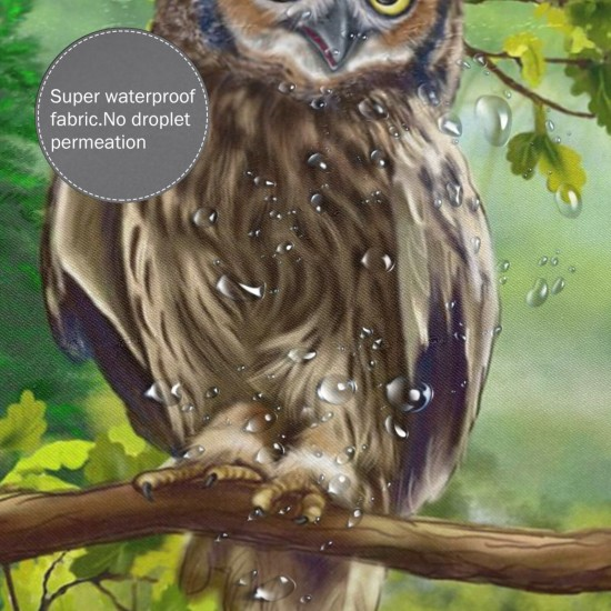 Owl Jungle Shower Curtain , Shower Bathroom Curtain 55x72 Inch Waterproof Fabric with Hooks , Wildly used in bathroom and hotel etc.