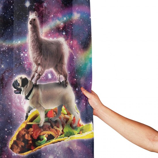 Llama On Pug Riding Taco Shower Curtain , Shower Bathroom Curtain 55x72 Inch Waterproof Fabric with Hooks , Wildly used in bathroom and hotel etc.