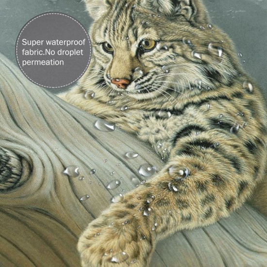 Leopard Cat Oil Painting Shower Curtain , Shower Bathroom Curtain 55x72 Inch Waterproof Fabric with Hooks , Wildly used in bathroom and hotel etc.