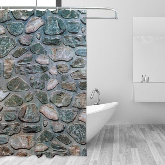 Inlaid Stones Shower Curtain , Shower Bathroom Curtain 55x72 Inch Waterproof Fabric with Hooks , Wildly used in bathroom and hotel etc.