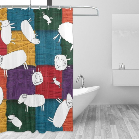 Cute Sheeps Pattern Shower Curtain , Shower Bathroom Curtain 55x72 Inch Waterproof Fabric with Hooks , Wildly used in bathroom and hotel etc.