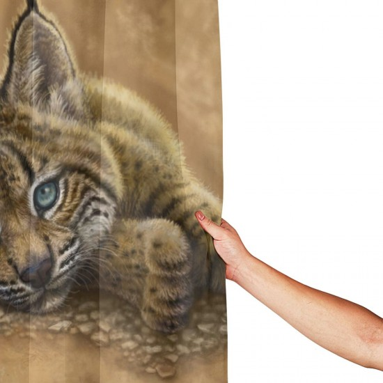 Bobcat Shower Curtain , Shower Bathroom Curtain 55x72 Inch Waterproof Fabric with Hooks , Wildly used in bathroom and hotel etc.