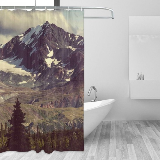 Alaska Mountains Shower Curtain , Shower Bathroom Curtain 55x72 Inch Waterproof Fabric with Hooks , Wildly used in bathroom and hotel etc.