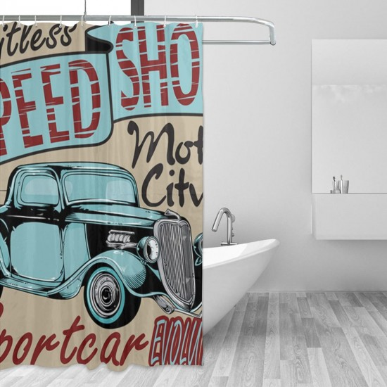 1950S Antique Sports Auto Shower Curtain , Shower Bathroom Curtain 55x72 Inch Waterproof Fabric with Hooks , Wildly used in bathroom and hotel etc.