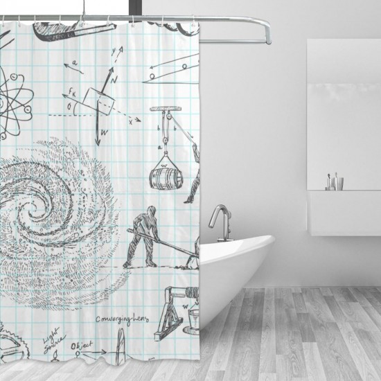 Physics Principle Calculus Shower Curtain , Shower Bathroom Curtain 55x72 Inch Waterproof Fabric with Hooks , Wildly used in bathroom and hotel etc.