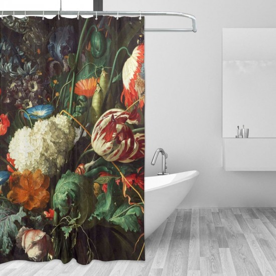 Dutch Wallpaper Floral Shower Curtain , Shower Bathroom Curtain 55x72 Inch Waterproof Fabric with Hooks , Wildly used in bathroom and hotel etc.