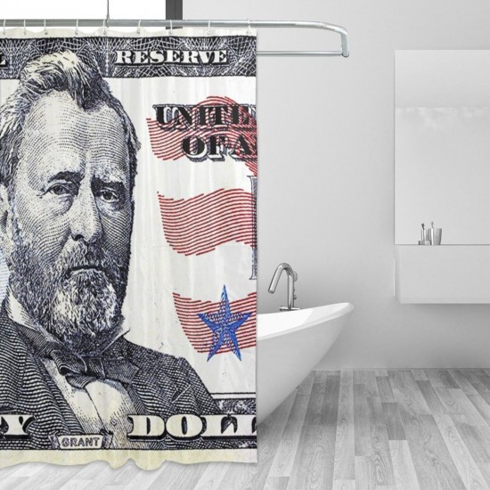 50 Dollars Shower Curtain , Shower Bathroom Curtain 55x72 Inch Waterproof Fabric with Hooks , Wildly used in bathroom and hotel etc.