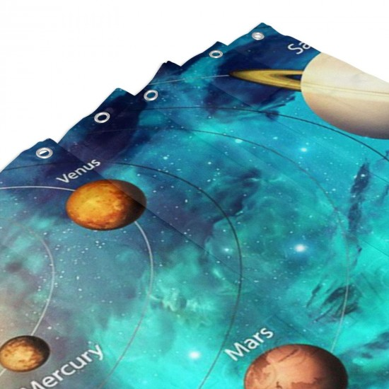 3D Solar System Shower Curtain , Shower Bathroom Curtain 55x72 Inch Waterproof Fabric with Hooks , Wildly used in bathroom and hotel etc.