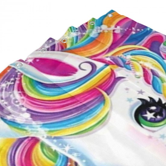 Unicorn Shower Curtain , Shower Bathroom Curtain 55x72 Inch Waterproof Fabric with Hooks , Wildly used in bathroom and hotel etc.