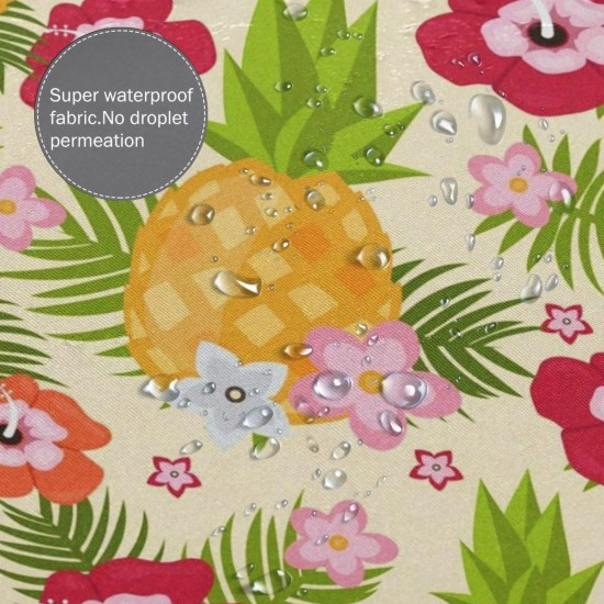 Cute Summer Pineapple Flowers Shower Curtain , Shower Bathroom Curtain 55x72 Inch Waterproof Fabric with Hooks , Wildly used in bathroom and hotel etc.