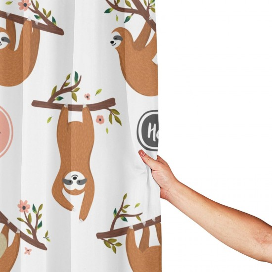 Cute Sloths Hanging On The Tree Shower Curtain , Shower Bathroom Curtain 55x72 Inch Waterproof Fabric with Hooks , Wildly used in bathroom and hotel etc.
