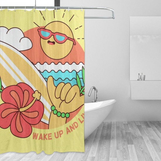 Cute Skate Shine Shower Curtain , Shower Bathroom Curtain 55x72 Inch Waterproof Fabric with Hooks , Wildly used in bathroom and hotel etc.