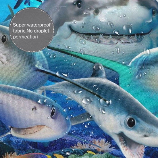 Cute Sharks Funny Shower Curtain , Shower Bathroom Curtain 55x72 Inch Waterproof Fabric with Hooks , Wildly used in bathroom and hotel etc.