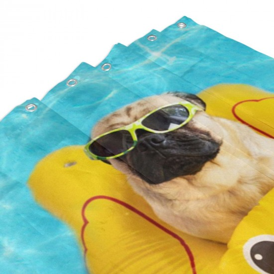Cute Pug Swimming Pool Device. Shower Curtain , Shower Bathroom Curtain 55x72 Inch Waterproof Fabric with Hooks , Wildly used in bathroom and hotel etc.