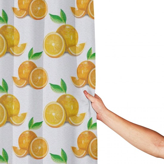 Cute Oranges Fruit Shower Curtain , Shower Bathroom Curtain 55x72 Inch Waterproof Fabric with Hooks , Wildly used in bathroom and hotel etc.