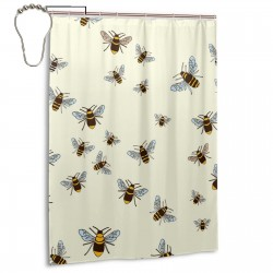 Bees Pattern Shower Curtain , Shower Bathroom Curtain 55x72 Inch Waterproof Fabric with Hooks , Wildly used in bathroom and hotel etc.
