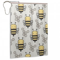 Bees Honeycomb On Light Grey Shower Curtain , Shower Bathroom Curtain 55x72 Inch Waterproof Fabric with Hooks , Wildly used in bathroom and hotel etc.